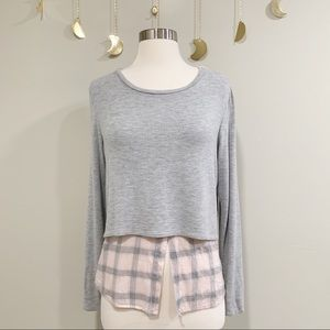 Generation Love. Gray Pullover with Pink Plaid Hem